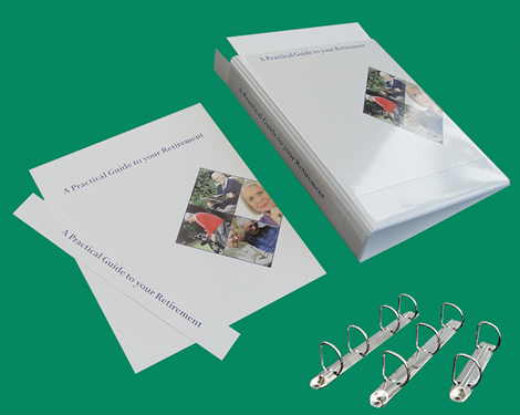 Solicitors PVC ring binders with front pocket biased to the left.