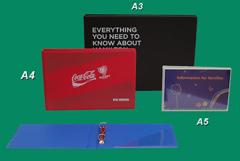 Printed inserts encapsulated onto binders.
